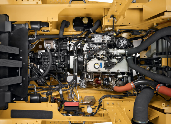 Overhead Closeup of the Engine of a Large Cat IC Diesel Forklift