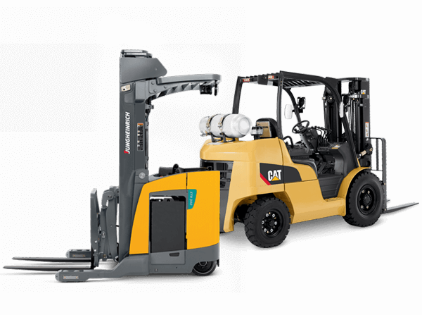 Jungheinrich and Cat forklifts side by side