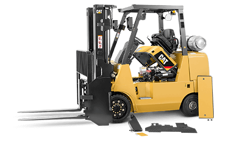 CAT Forklift with its Motor Covor Lifted