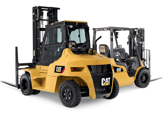 Two Different Types of CAT Forklifts Together