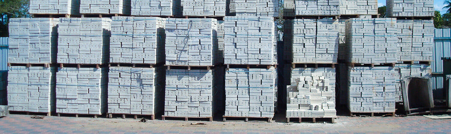 Pallets of stacked bricks