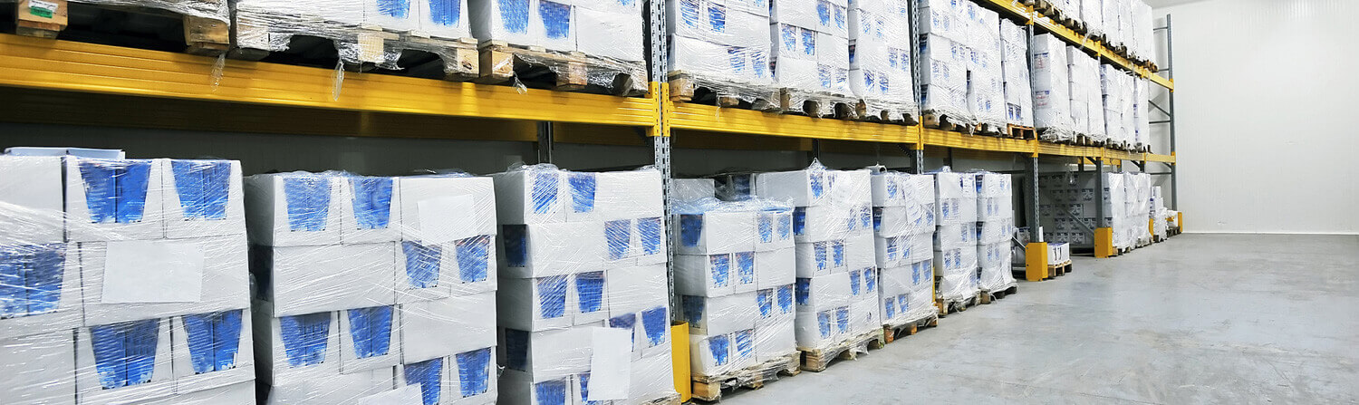 White boxes in warehouse