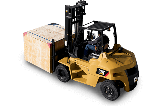 Cat forklift carrying large crate