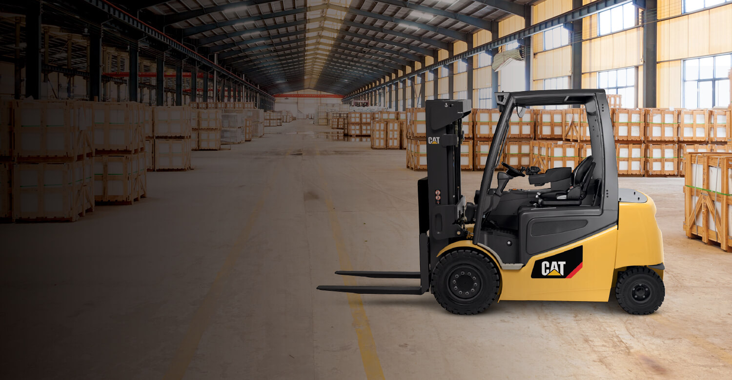 Cat electric forklift empty in warehouse
