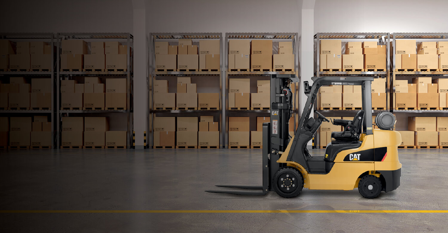 Cat IC cushion tire forklift empty in warehouse
