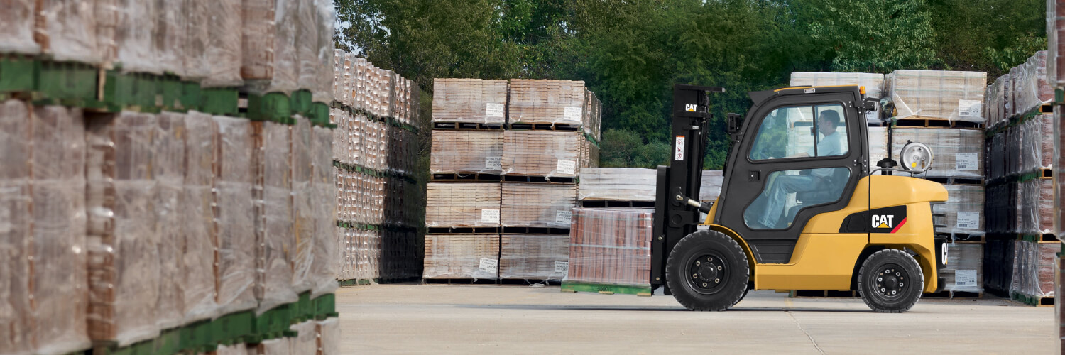 Cat IC Pneumatic Tire forklift in outdoor brick yard