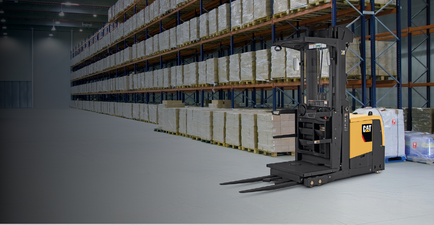 Cat narrow aisle high level order picker in warehouse