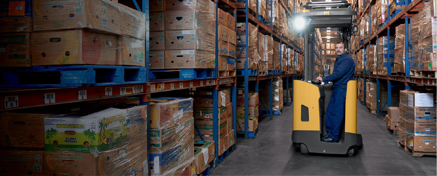 cat pantograph reach truck in warehouse aisle