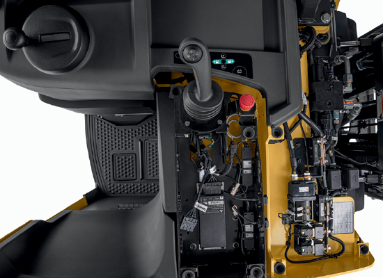 View of Mechanisms within Armrest and Chassis of a Cat Stand-up Counterbalance Forklift
