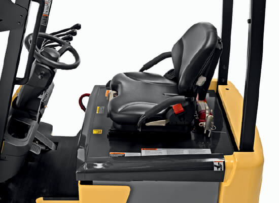 Side view of operator compartment of small electric cushion Cat forklift