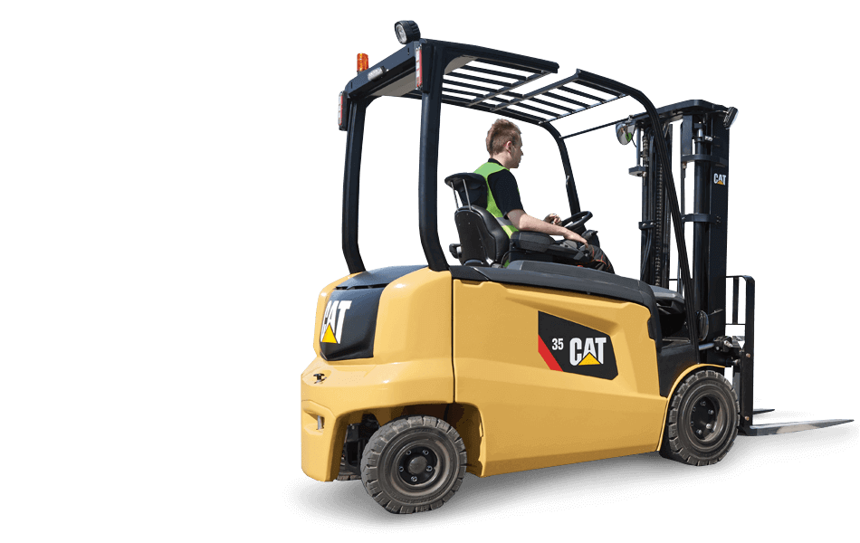 Sideview of an Operator Driving a Cat Electric Powered Lift Truck