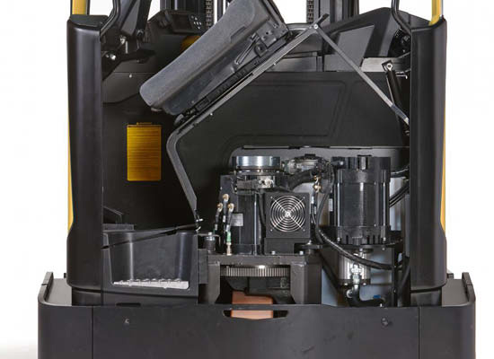 Inside components of Cat moving-mast reach truck