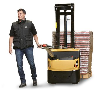Feature image of worker pulling Cat pedestrian stacker with multiple pallets