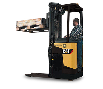 Product image of worker operating Cat stand-on stacker
