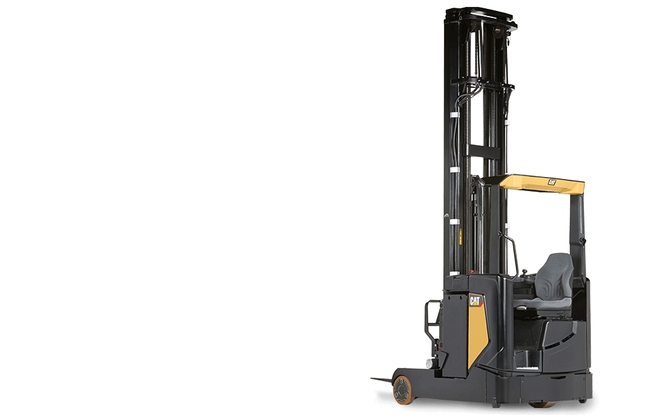 Full view of Cat moving-mast reach truck