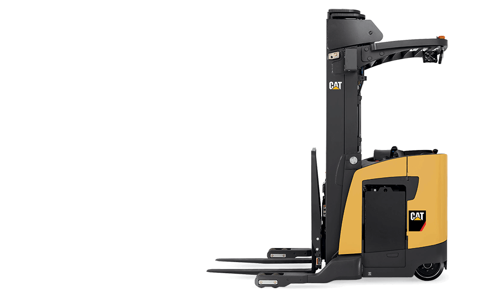 Side view of Cat pantograph reach truck