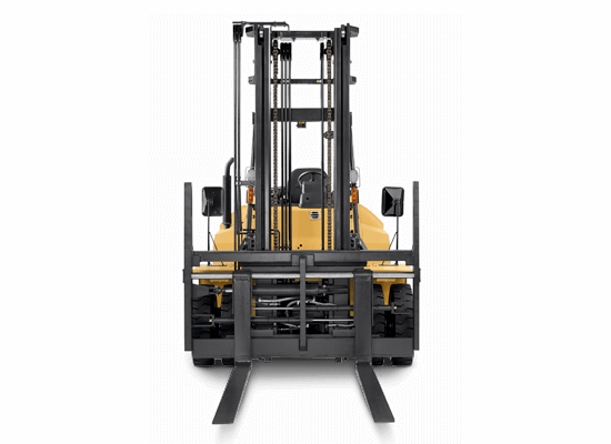 Frontview of the Forks on a Cat IC Pneumatic Tire Diesel Forklift