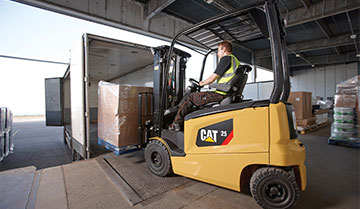 Operator using a Cat Electric Powered Lift Truck to Load Pallets for Delivery