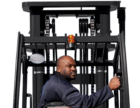 Lift truck operator backing up