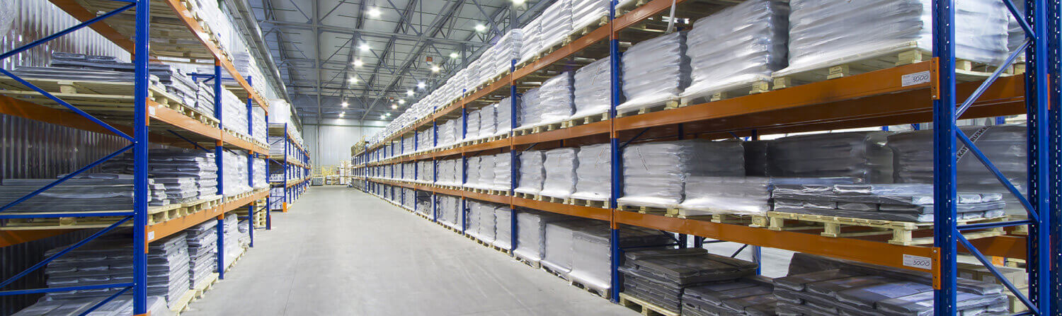 Long warehouse aisle