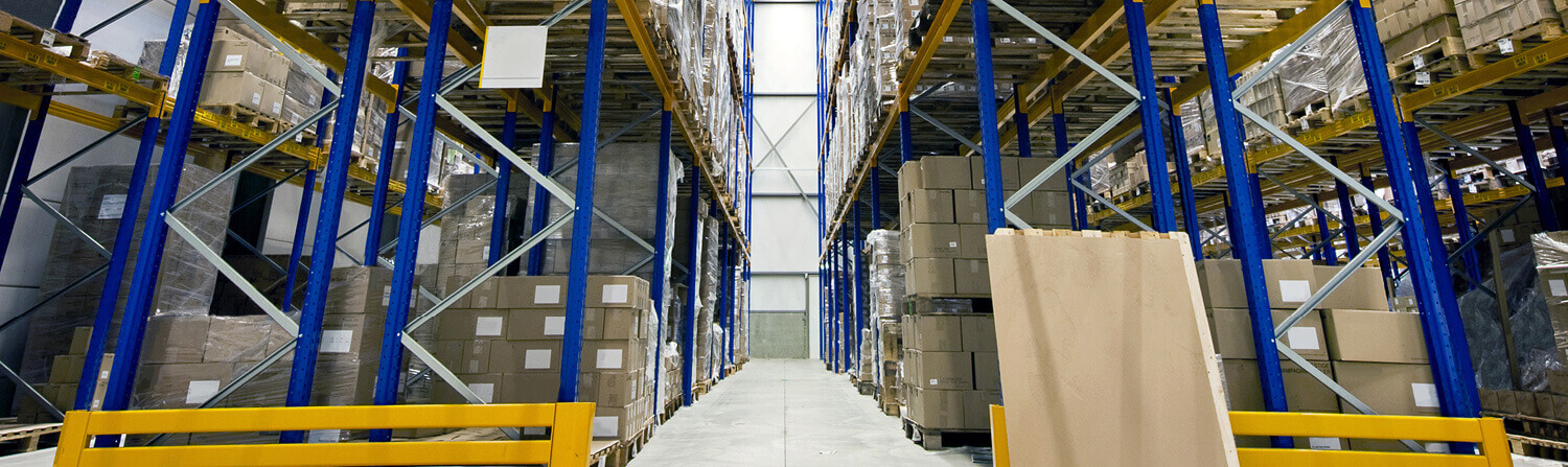 High angle warehouse aisle