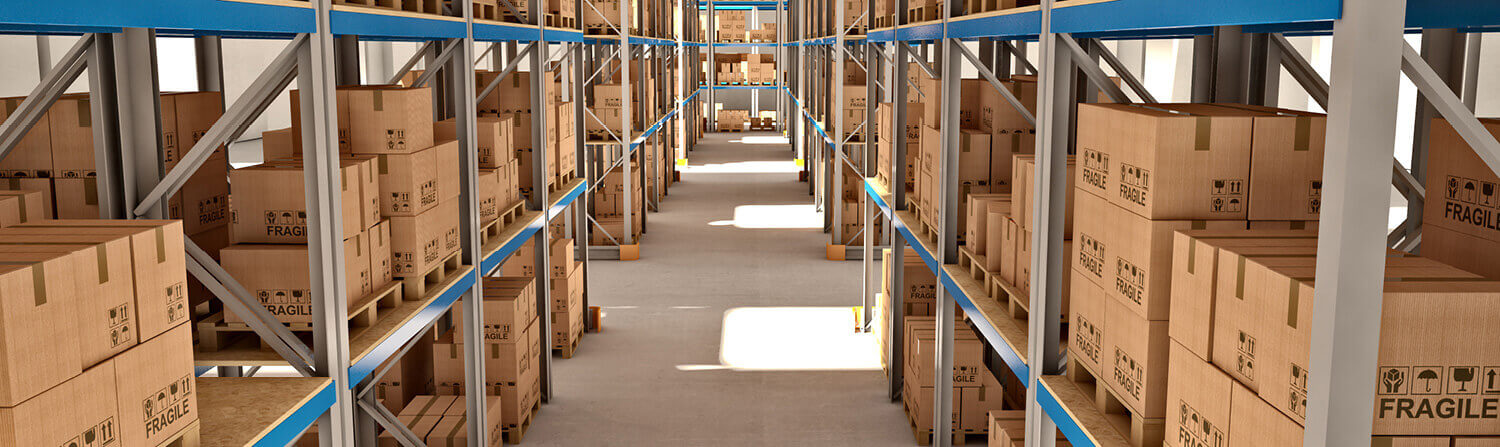 Warehouse aisle view from high angle