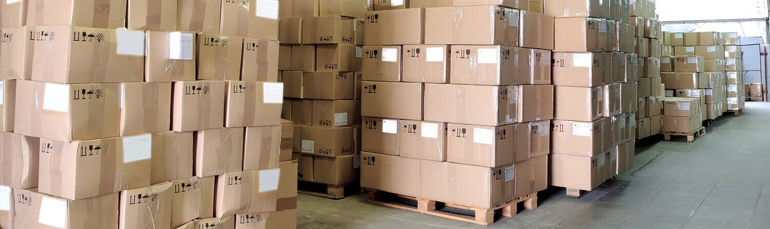 pallets of boxes