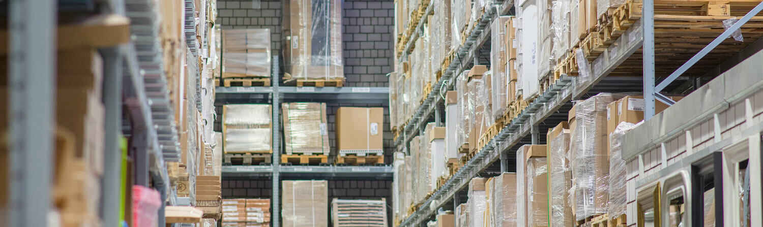 Tall warehouse shelves