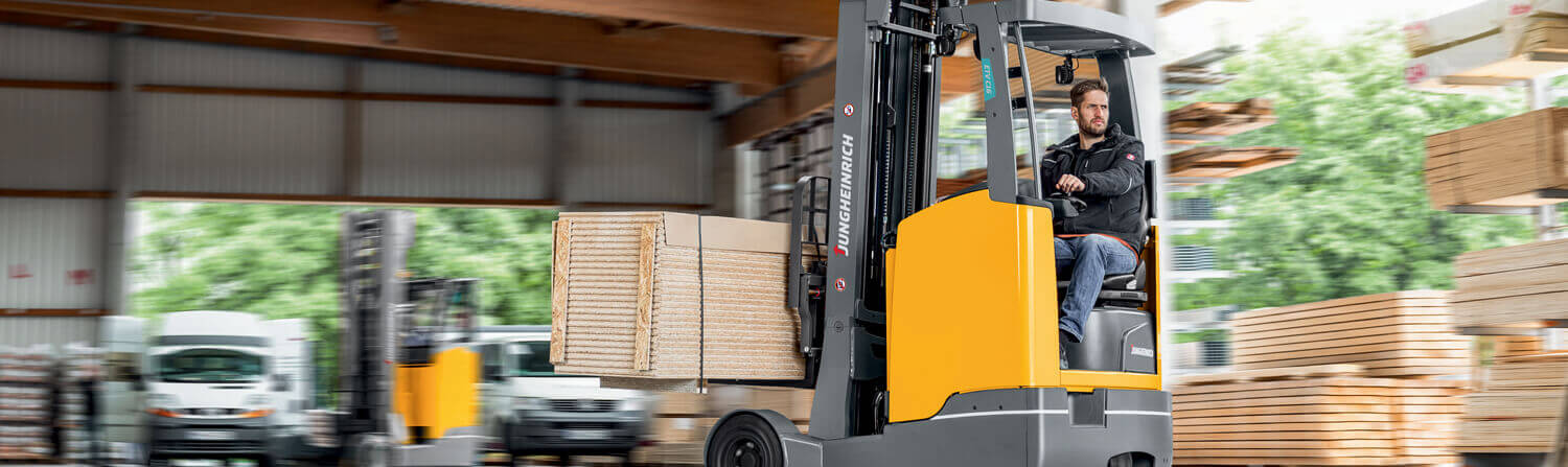 Jungheinrich reach truck working in warehouse