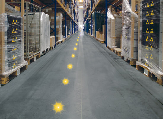 Lights Representing Jungheinrich RFID Transponders Layout in an Aisle