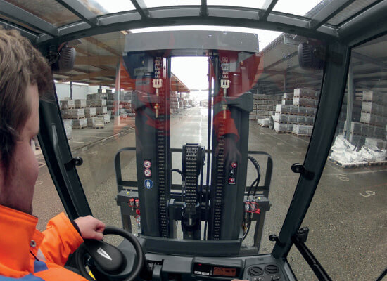 Forklift operator point of view while driving