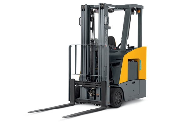 Jungheinrich stand-up counterbalanced lift truck against white background