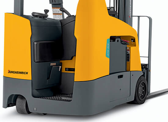 Bottom half rear view of Jungheinrich stand-up counterbalanced lift truck