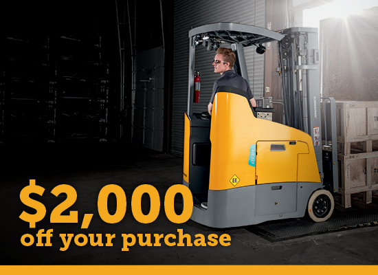 Man on Jungheinrich Stand-Up Counterbalance Forklift $2,000 Instant Rebate