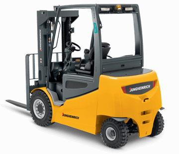 Back View of a Jungheinrich 4-Wheel Electric Pneumatic Forklift