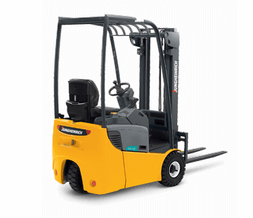 Full View of a Jungheinrich Counterbalanced Rear Wheel Drive Forklift