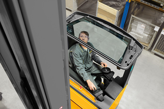 Operator Looking Up Through a Jungheinrich Reach Truck's See-Through Overhead Guard