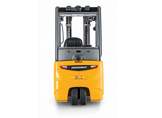 Rear View of a Three Wheel Electric Jungheinrich Forklift