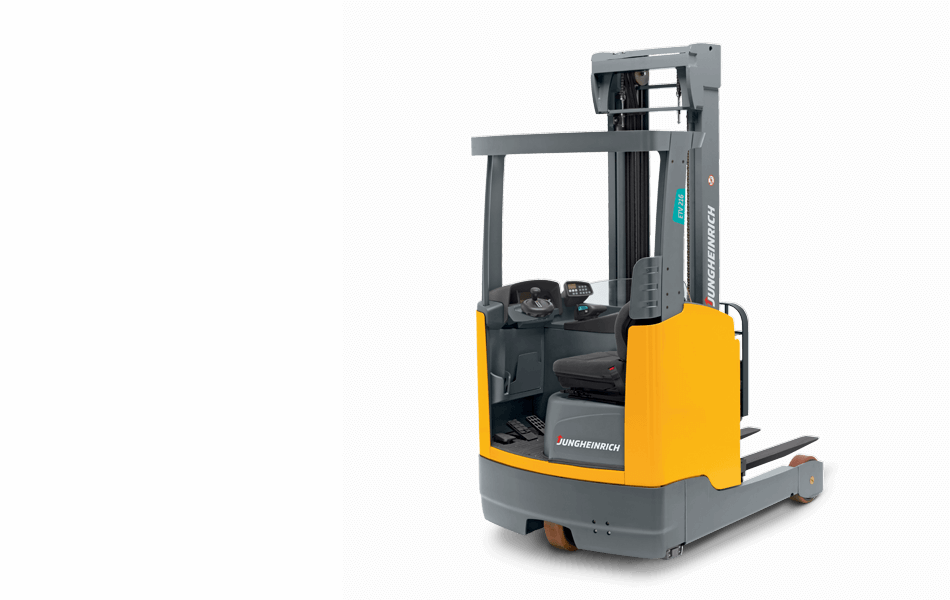 Jungheinrich sit-down moving mast reach truck against white background