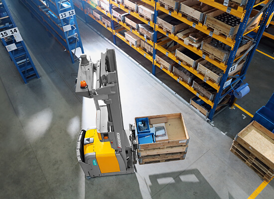 aerial view of eks 215a agv pallet stacker