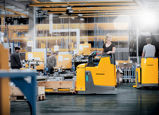 Jungheinrich ERE Pallet Trucks in Use in a Warehouse Setting