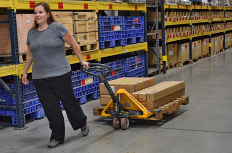 Woman Pulling Merchandise on a Jungheinrich Hand Pallet Jack