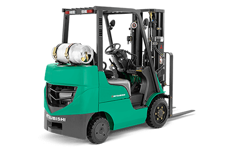 Back right view of Mitsubishi forklift truck