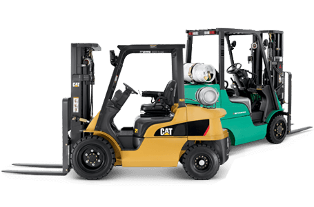 Cat and Mitsubishi forklifts side by side