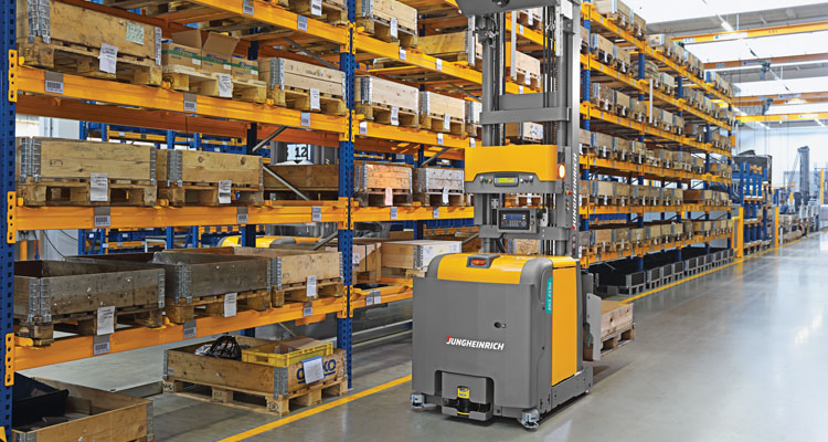 AGV automated stacker in warehouse aisle