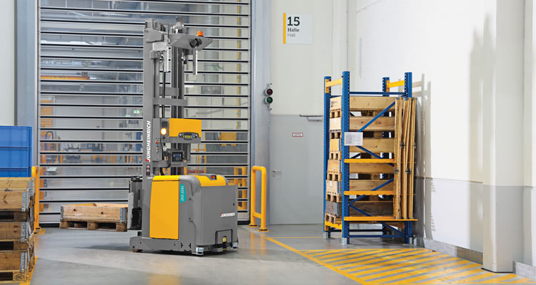 Jungheinrich automated stacker with pallet in warehouse