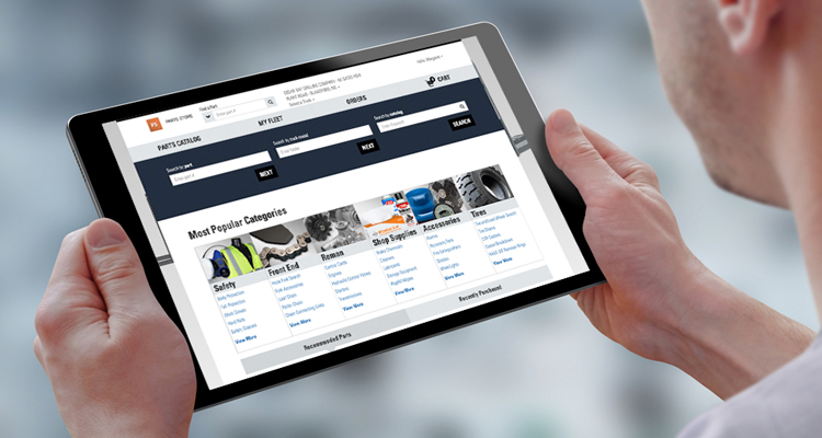 person using the forklift Online Parts Store on their tablet ipad