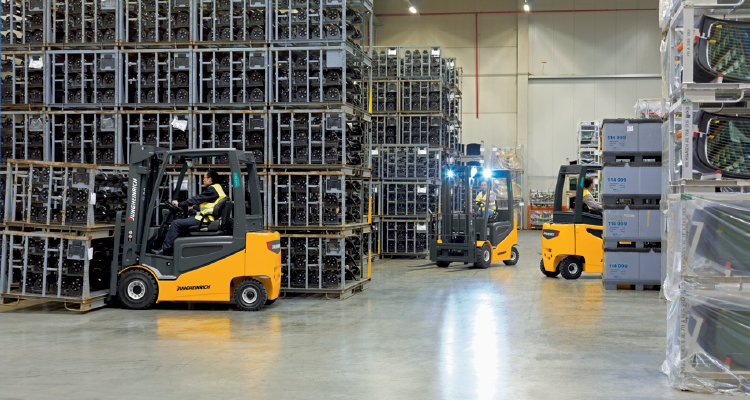 Jungheinrich Electric Forklifts in Warehouse