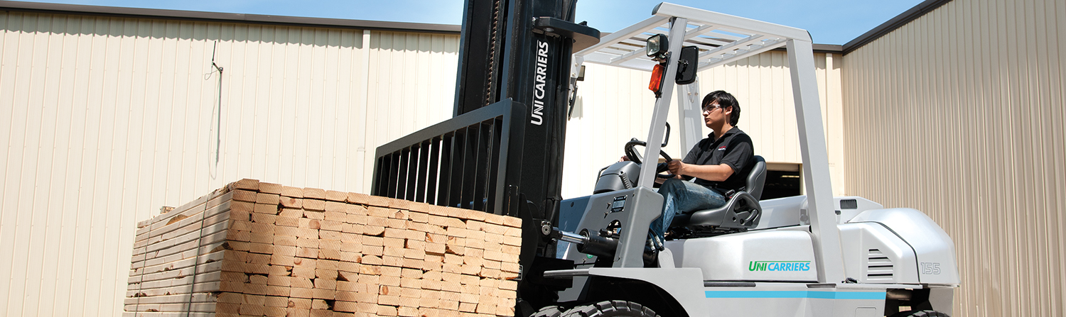 A Mitsubishi Class IV Forklift on an Outdoor Ramp
