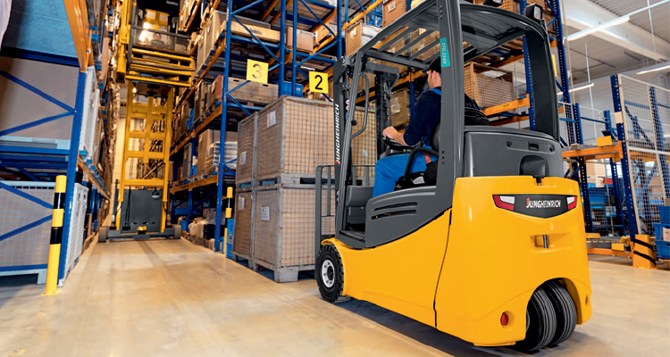 Jungheinrich EFG 215 R Forklifts in Use in a Factory